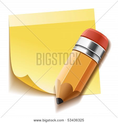 Realistic yellow stick note and pencil