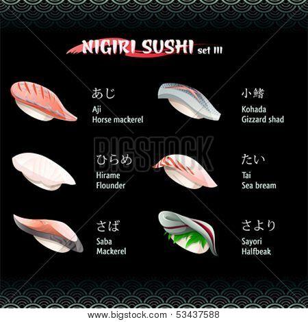 Nigiri sushi with mackerel, flounder, gizzard shad, sea bream and halfbeak