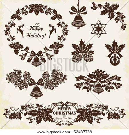Collection of silhouettes of vintage Christmas decorations, set 3.