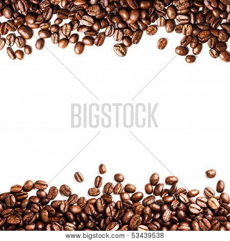 Roasted Coffee Bean Background Isolated On White Background. Closeup Of Coffee Beans Texture.