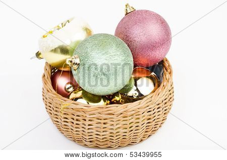 Basket Full Of Christmas Balls