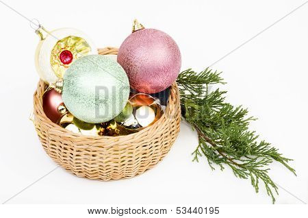 Christmas Balls In Basket