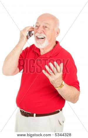 Senior Man In Cellphone Conversation