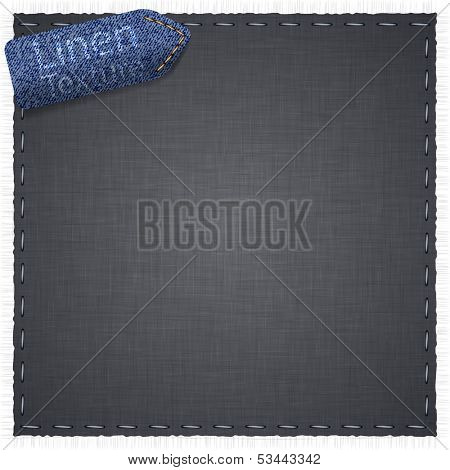 Vector illustration of grey realistic linen texture.