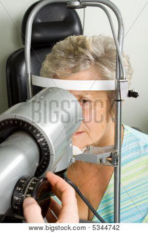 Lady Having Eye Test Examination