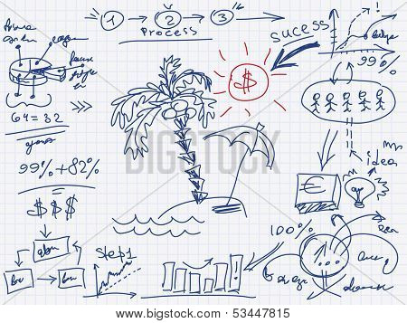 Finance chart, infographic elements sketch with palm tree