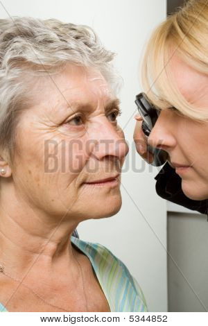 Lady Having Eye Test Examination