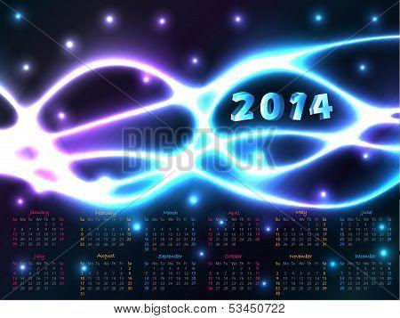 2014 Calendar With Plasma Background