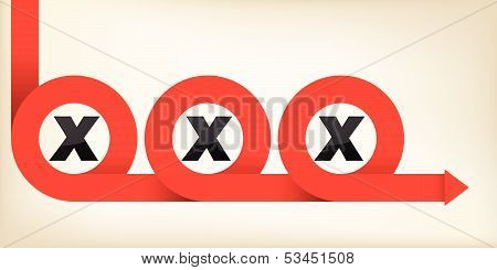 Red Ribbon Curling Around X Letters