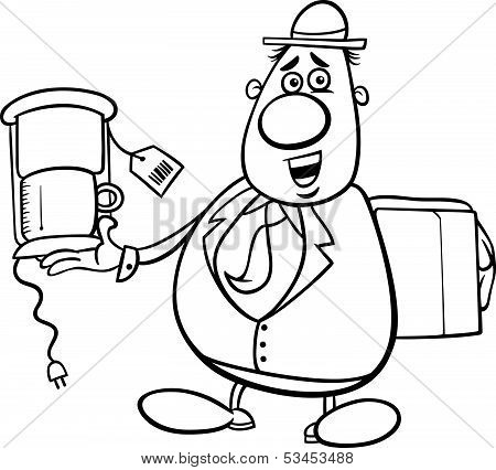 salesman cartoon for coloring book