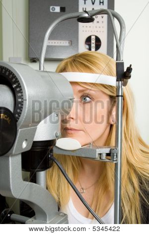 Young Woman Having Eye Test