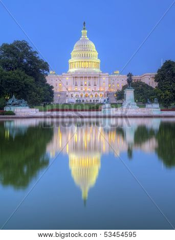 Back Of The United States Capitol Building And Reflecting Pool