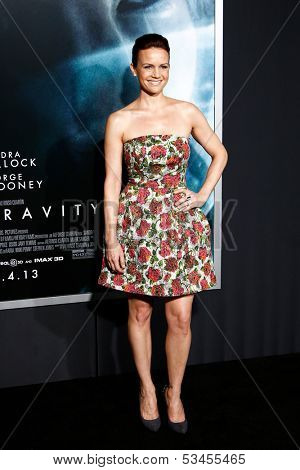 NEW YORK-OCT 1: Actress Carla Gugino attends the 'Gravity' premiere at AMC Lincoln Square Theater on October 1, 2013 in New York City.