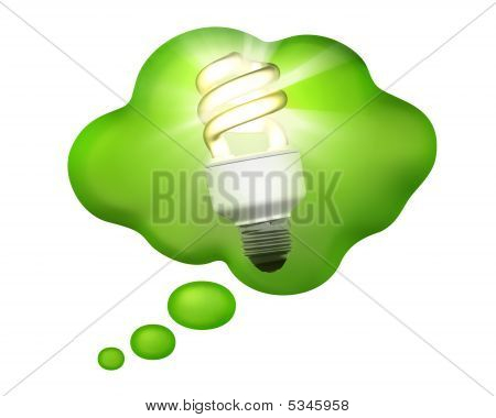 Compact Fluorescent Bulb In A Thought Bubble