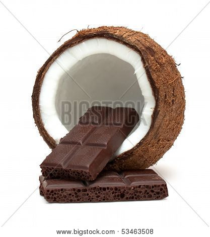 Coconut And Chocolate Isolated On White