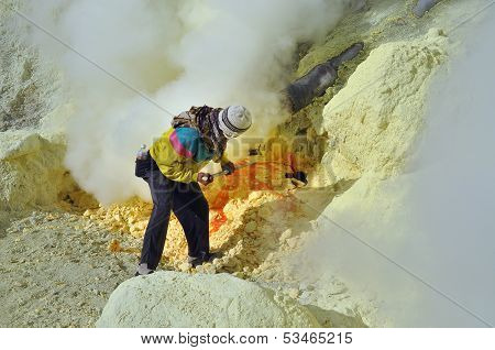 Worker At Sulphur Mine. Kawah Ijen Crater