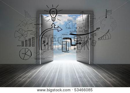 Graphic in room with big door