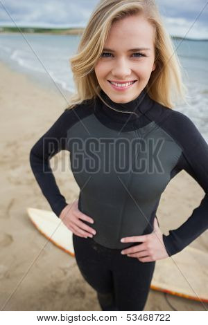 Portrait of a beautiful young woman in wet suit at the beach
