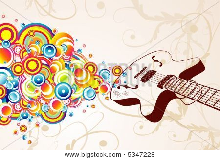 Retro Guitar Singing Bubbles