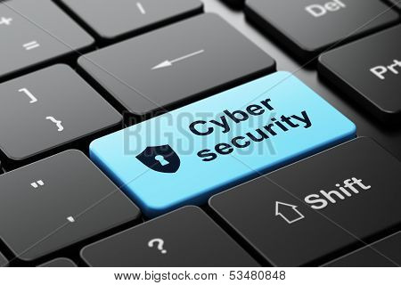 Security concept: Shield With Keyhole and Cyber Security on computer keyboard background