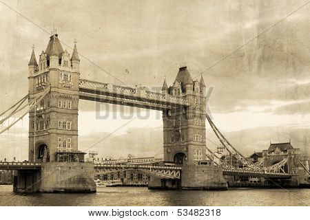 Vintage view of London,Tower Bridge
