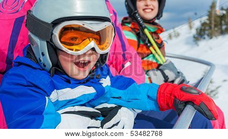 Skiing, winter, family