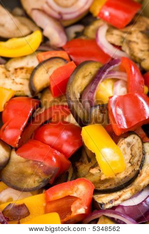 Mediterranean Vegetables Cooking In A Pan