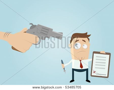 forced businessman with a contract