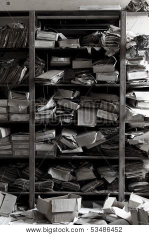 Old And Dusty Archive Of Papers In Forgotten Place