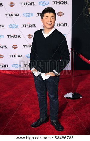 LOS ANGELES - NOV 4:  Bradley Steven Perry at the Thor: The Dark World' Premiere at El Capitan Theater on November 4, 2013 in Los Angeles, CA