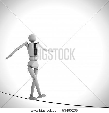Businessman In Equilibrium On A Rope