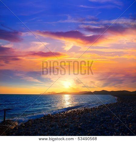 Ibiza Cap des Falco beach sunset and Es Vedra in Sant Josep Balearic Islands