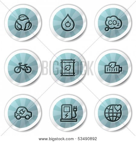 Ecology web icons set 4, blue shine stickers series
