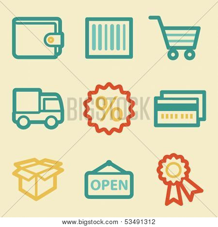 Shopping web icons, retro colors