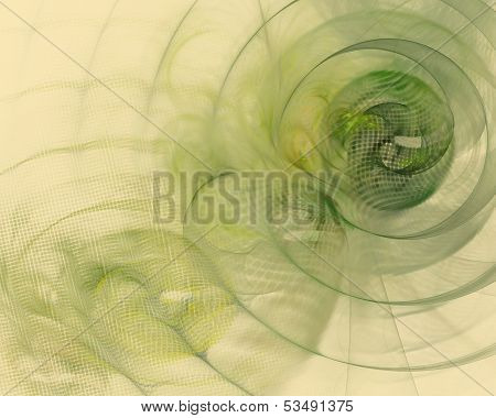 Abstraction on a beige background with a green spiral