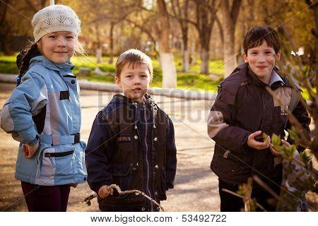 Children In Park In The Autumn