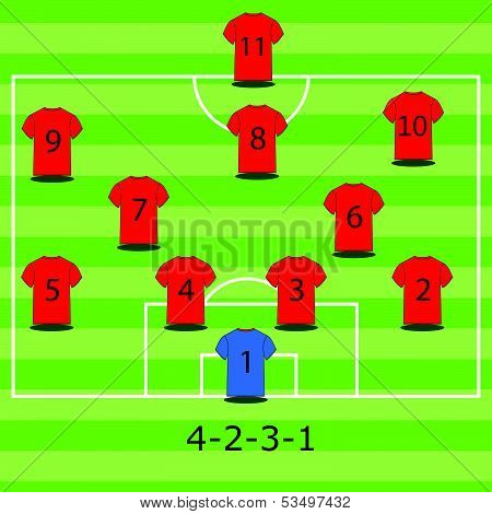 Soccer field illustration. Football tactics and strategy - popular 4-2-3-1 team formation.