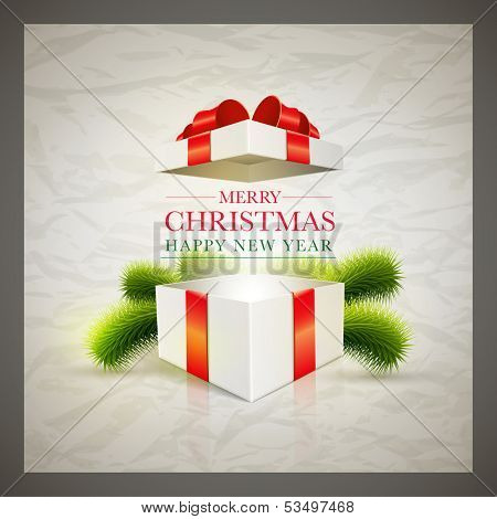 Vector retro Christmas card design template with wrinkled paper background. Elements are layered separately in vector file.