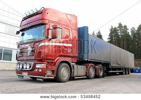 Red Scania Truck And Trailer
