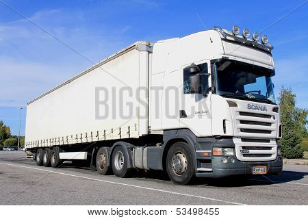 Big White Scania Truck And Trailer