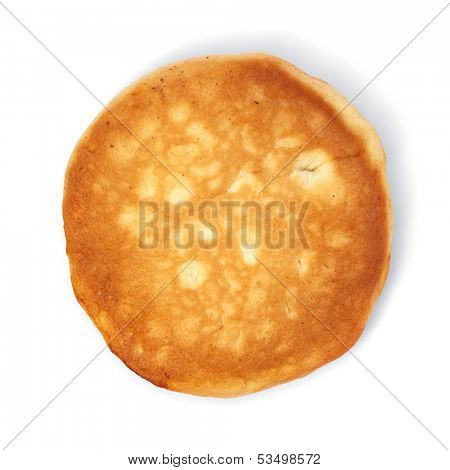 pancake taken in natural light isolated on white background with path