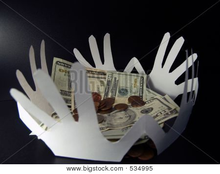 Money And Paper Hands On Black 2