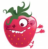 stock photo of crazy face  - Cartoon pink red strawberry fruit character jumping making a gesture crazy face - JPG