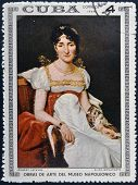 Stamp printed in Cuba dedicated to Artworks Napoleon Museum shows Elisa Bonaparte by Robert Lefevre