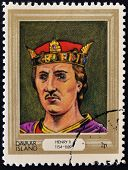 stamp printed in Davaar Island dedicated to the kings and queens of Britain shows King Henry II