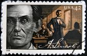 A stamp printed in USA shows Abraham Lincoln served as the 16th President of the United States