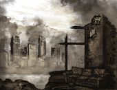 image of fallen  - The illustration on the theme of the apocalypse - JPG