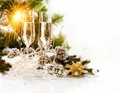 stock photo of sparkling wine  - New Year Card Design with Champagne - JPG