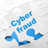 Protection concept: Cyber Fraud on puzzle background