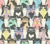 stock photo of paw  - Seamless pattern with hipster cute cats for children - JPG